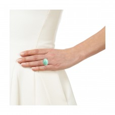 Vintage Amazonite oval Cut Cocktail Cubic Zirconia Ring