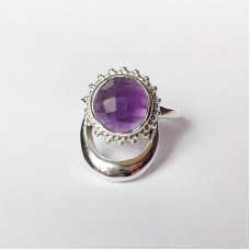 Natural African Amethyst Silver Moon and Sun Ring