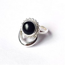 Natural Black Onyx Silver Moon and Sun Ring