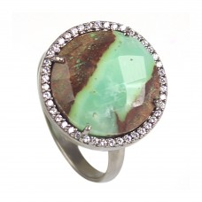 Chrysoprase round sterling silver pave setting cz ring