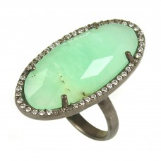 Chrysoprase oval silver pave set ring