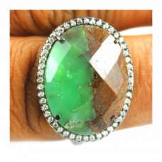 Vintage Chrysoprase oval Cut Cocktail Cubic Zirconia Ring