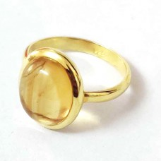 Natural Citrine Gold Plated Silver Ring