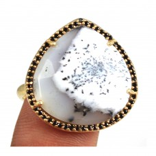Dendritic opal heart sterling silver pave setting cz ring