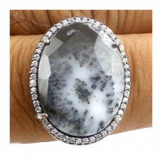 Vintage Dendritic opal oval Cut Cocktail Cubic Zirconia Ring