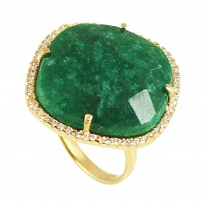 Emerald cushion sterling silver pave setting cz ring