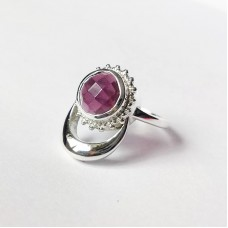 Natural Garnet Silver Moon and Sun Ring