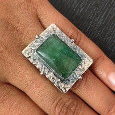 Green Aventurine Tribal Silver Ring