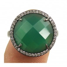 Green onyx round sterling silver pave setting cz ring