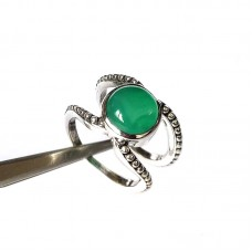 Majestic Green Onyx Boho silver ring