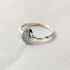 Natural Rainbow Moonstone Pear Silver Ring