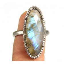 Labradorite oval silver pave set ring