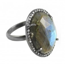 Vintage labradorite oval Cut Cocktail Cubic Zirconia Ring