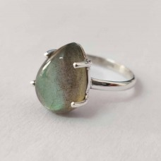 Natural Labradorite Pear Silver Prong Ring