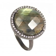 Labradorite round sterling silver pave setting cz ring