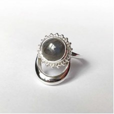 Natural Labradorite Silver Moon and Sun Ring