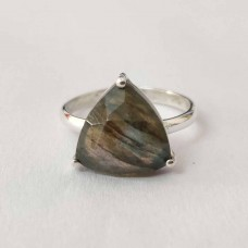 Natural Labradorite Trillion Silver Prong Ring