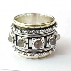 Natural Labradorite Yoga Spinner Silver Ring