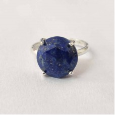 Natural Lapis Round Silver Prong Ring