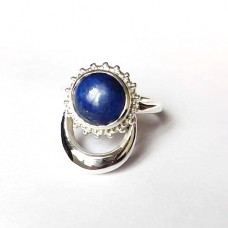 Natural Lapis Silver Moon and Sun Ring