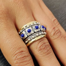 Natural Lapis Yoga Spinner Silver Ring