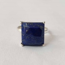 Natural Lapis Square Silver Prong Ring