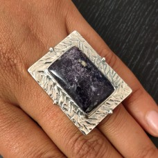 Lepidolite Tribal Silver Ring
