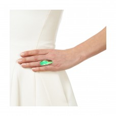 Chrysoprase oval silver cocktail ring