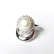 Natural Pearl Silver Moon and Sun Ring