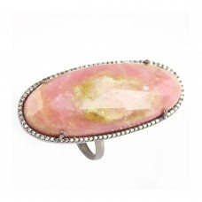 Rhodocrosite oval silver cocktail ring