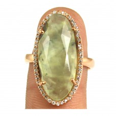 Prehnite oval silver pave set ring