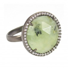 Prehnite round sterling silver pave setting cz ring