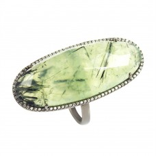 Prehnite oval silver cocktail ring