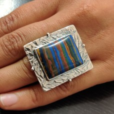 Rainbow Calsilica Tribal Silver Ring