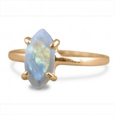 Rainbow Moonstone Marquise Silver Prong Ring