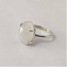 Rainbow Moonstone Oval Silver Prong Ring