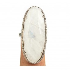 Rainbow moonstone oval silver cocktail ring