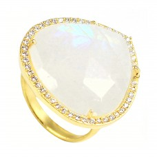 Rainbow moonstone heart sterling silver pave set cz ring