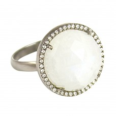 Rainbow moonstone round sterling silver pave setting cz ring