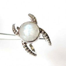 Majestic Rainbow moonstone Boho silver ring
