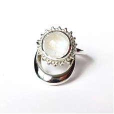 Natural Rainbow Moonstone Silver Moon and Sun Ring