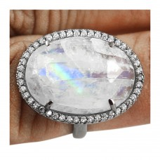 Vintage Rainbow moonstone oval Cut Cocktail Cubic Zirconia Ring