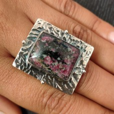 Natural Rhodonite Tribal Silver Ring