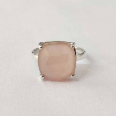 Rose Quartz Cushion Silver Prong Ring
