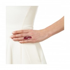 Ruby oval silver cocktail ring