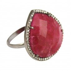 Ruby heart sterling silver pave set cz ring