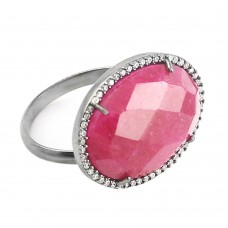 Vintage Ruby pink oval Cut Cocktail Cubic Zirconia Ring