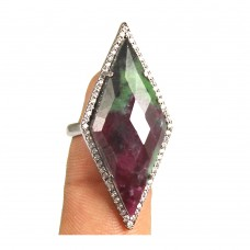 Ruby zoisite rhombus silver pave set ring