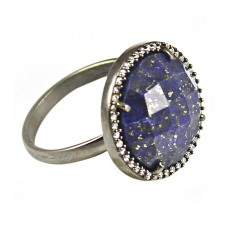 Lapis lazuli round sterling silver pave setting cz ring