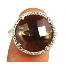 Smoky quartz round sterling silver pave setting cz ring